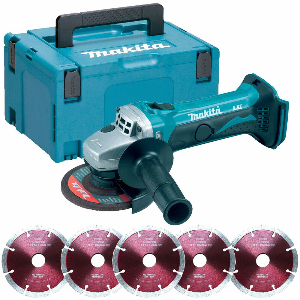 Makita DGA452Z 18V LXT 4.5  Angle Grinder With 5 x 115mm Segmented Blade in Case