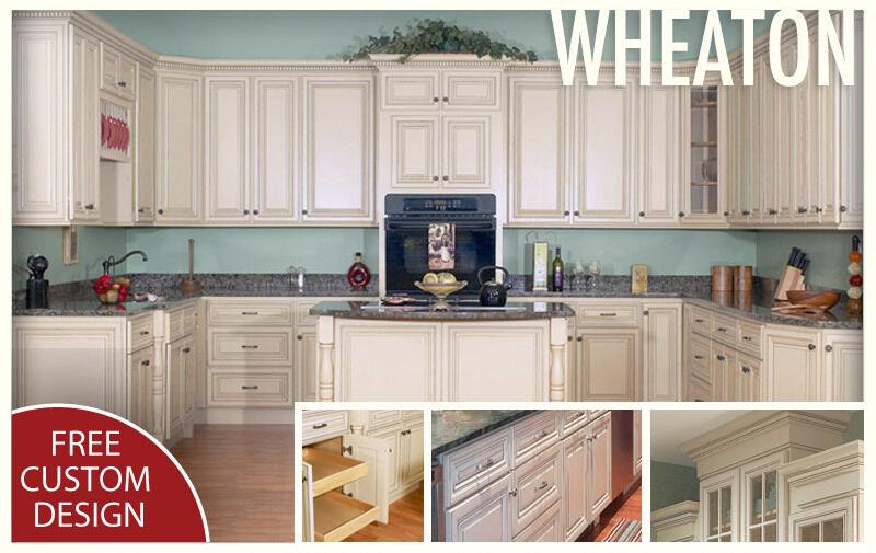 All Solid Maple Wood Kitchen Cabinets 10x10 Rta Wheaton Cream