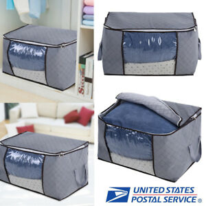 Foldable-Large-Clothes-Quilt-Storage-Bag-Case-Clothing-Blanket-Organizer-Case-US