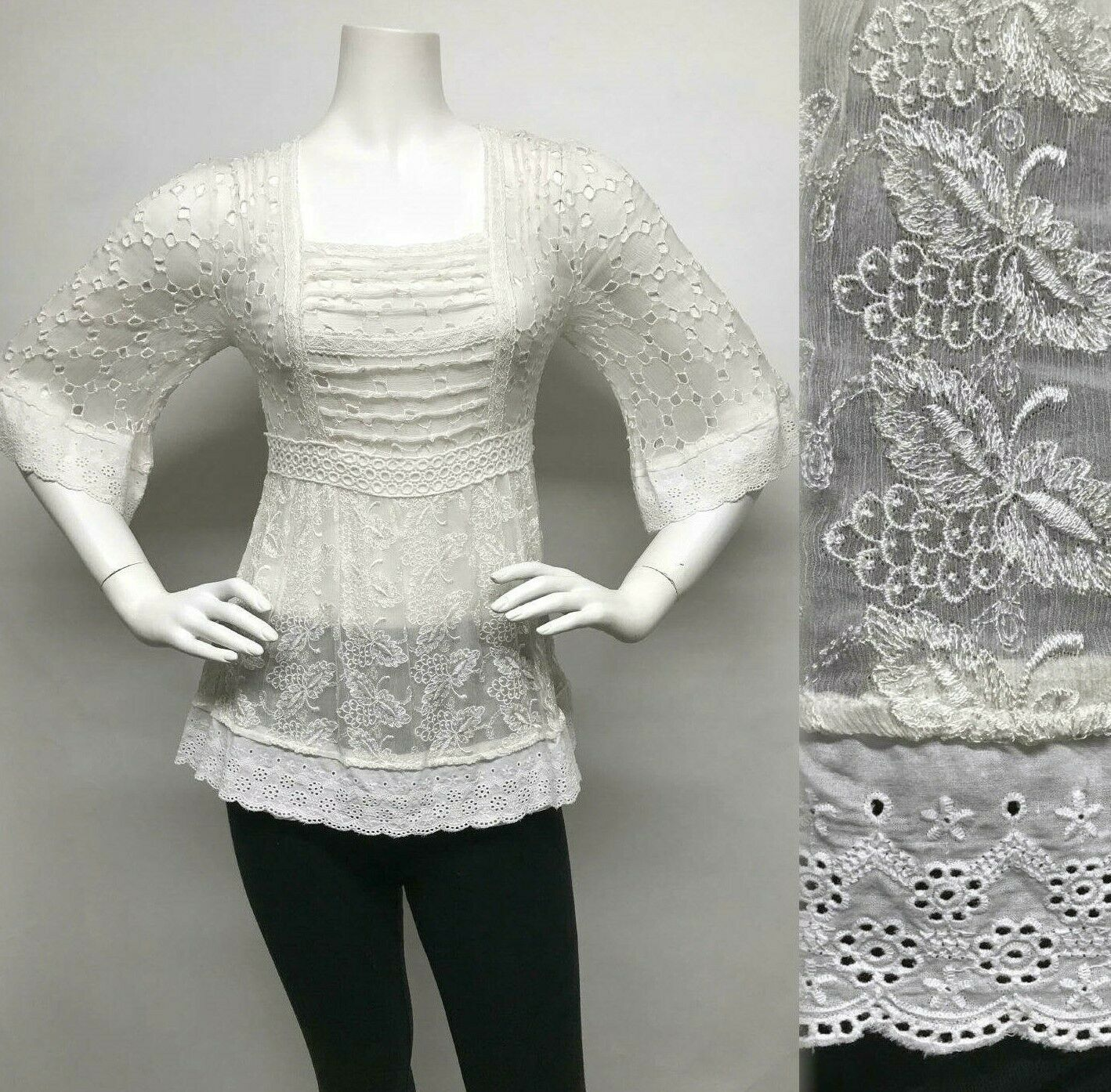 SUNDANCE CATALOG Embroiderot 100% SILK Blouse Top & Slip EYELET LACE Cut-Outs S