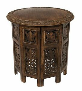 Side Tables for Small Places Round Top Mango Antique Wood Folding Panels Brown