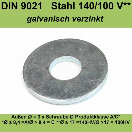 26,0 DIN9021 Unterlegscheiben verzinkte Beilagscheiben Karosseriescheiben M26 mm