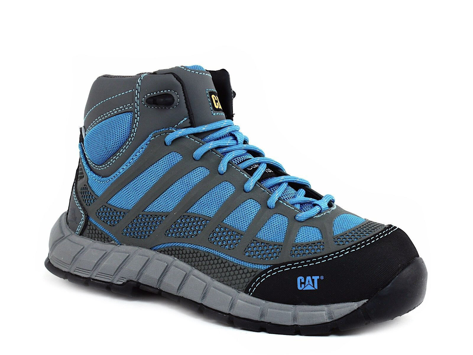 Caterpillar Work STREAMLINE MID WP Comp Safety Toe Damenschuhe Work Caterpillar Hiking Blau Grau Stiefel d3cc46