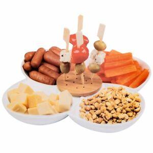 weisses-Porzellan-Holz-Snack-Schale-Keramik-dippen-Serviertablett-Vorspeise-Plate