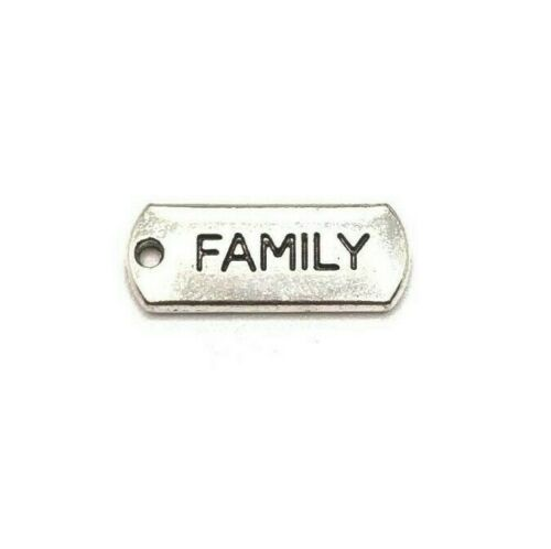 Word Charm AS152 4 or 20 pcs Antique Silver Family Tag Charms US Seller