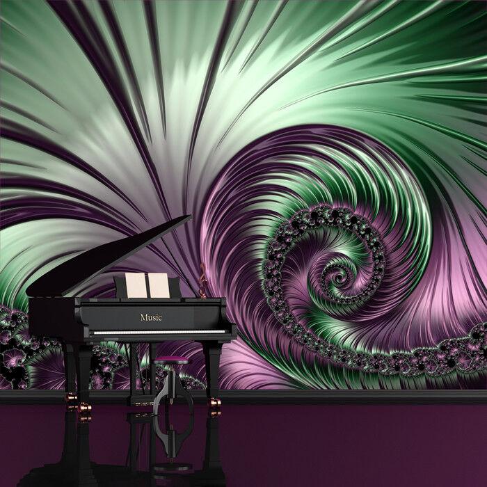 Purple Swirl 3D Wall Mural Green Spiral Photo Wallpaper Abstract Art Home Decor