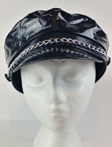 Amscan Black Sparkle Biker Costume Cap Hat w Chain.