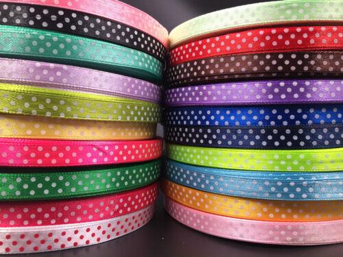 """10Yards 3//8/"""" 10mm Bulk Polka Dot Ribbon Satin Craft Supplies crafts pick color"""