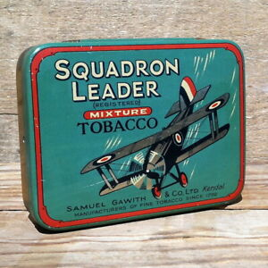 Vintage-Original-1930s-SQUADRON-LEADER-AIRPLANE-BOMBER-Empty-Tobacco-Tin-NOS