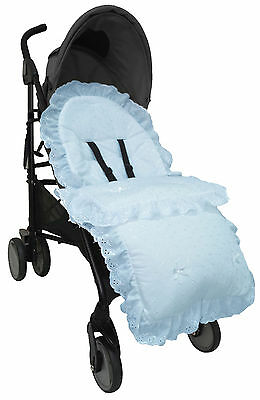 BEAUTIFUL FRILLY BRODERIE ANGLAISE FOOTMUFF/ COSY TOES FIT BUGGY PUSCHAIR BABY