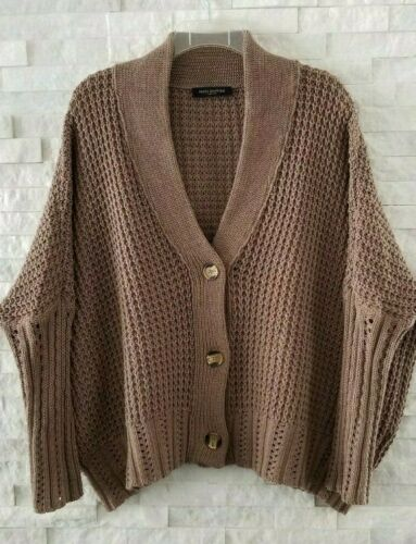 Piazza Sempione Taupe Cotton Blend Chunky Knit Ove