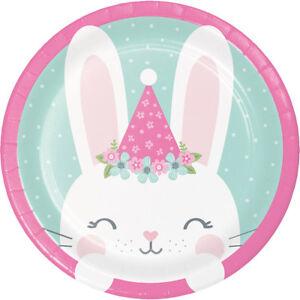8-x-placa-de-papel-Bunny-Rabbit-Fiesta-Rosa-Bebe-Nina-1st-Cumpleanos-Fiesta-Baby-Shower