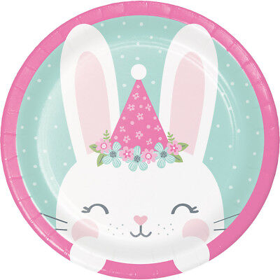 8 x Bunny Rabbit Party Pink Paper Plate Baby Girl 1st Birthday Party baby Shower