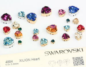 Genuine-SWAROVSKI-4884-XILION-Heart-Fancy-Crystals-with-Sew-On-Metal-Settings