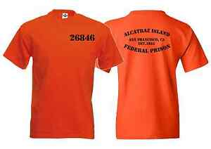 ALCATRAZ-PRISON-HALLOWEEN-FANCY-DRESS-FUN-ORANGE-T-SHIRT