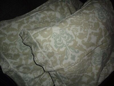 SIMPLY SHABBY COTTAGE PAISLEY BLUE TAUPE (PAIR) KING PILLOW SHAMS 20 X 35