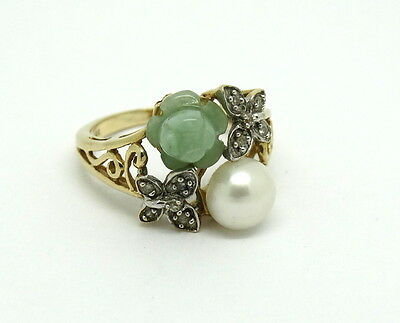 Green JADE Flower Bud DIAMOND Butterfly PEARL Solid 14K GOLD Filigree Ring