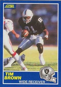 Details About Tim Brown 1989 Score Football Rookie Card 86 Oakland Raiders Nr Mt