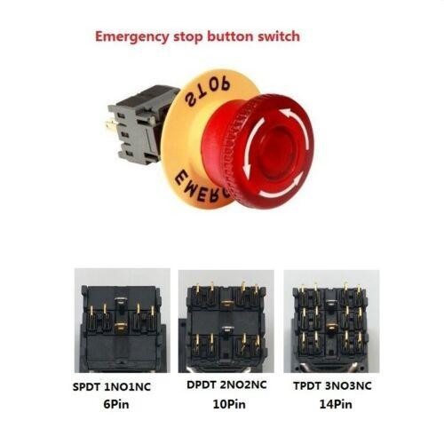 16mm Led De Emergencia Botón Interruptor 24V interruptor de iluminación LED de Cabeza Hongo Rojo