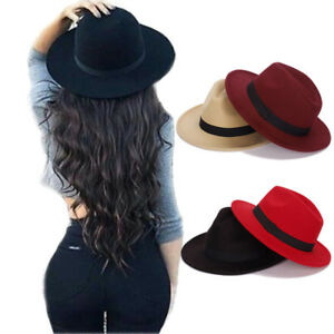 Fashion Wide Brim Vintage Wool Felt Hats Women Fedora Men Hat Jazz ... 7b8124bce22
