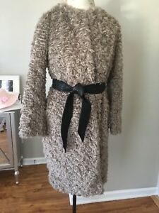 About Hot Faux Gray Fur 8 Nwt Shearling Trendy Taupe Details Coat129 Size H amp;m 6 Belted 2 ZOPkXiTu