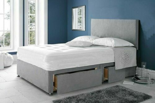 Upholstery Suede Divan Bed Set Choice of Mattress Available