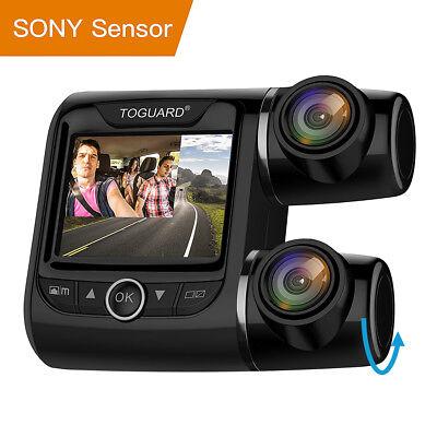 "TOGUARD 2"" Dashcam Car Camera HD 1080P Dual Len 340° Front Rearview DVR Recorder"