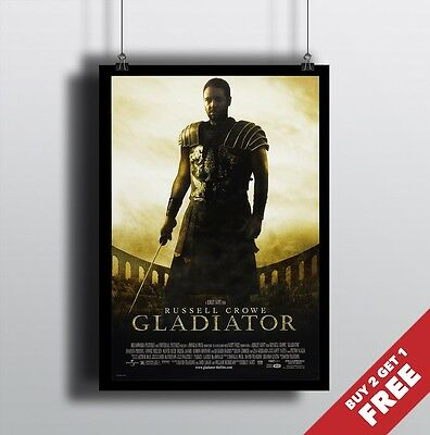 Classic Movies Action Drama Film Print GLADIATOR 2000 MOVIE POSTER A3 A4