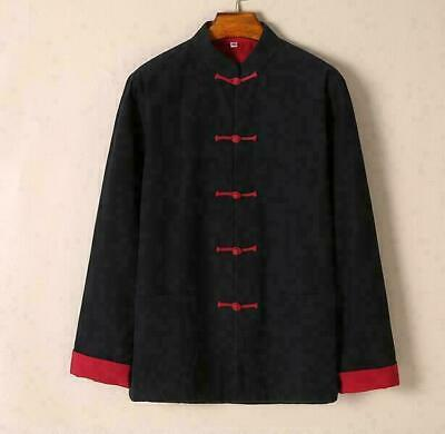 Chinese Kung Fu Mens Long Trench Single Breasted Coat Jacket Retro Tang Suit Hot