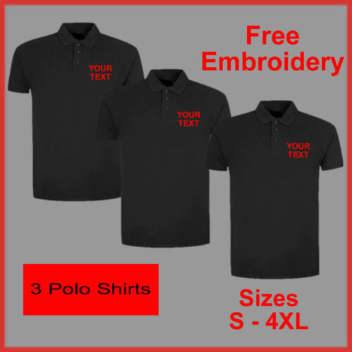 PERSONALISED EMBROIDERED BUSINESS WORK WEAR PACKAGE POLO SHIRTS TEXT EMBROIDERY