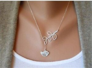 Women-Simple-Beauty-Necklace-Leaves-Bird-Chains-Short-Necklaces-Accessories