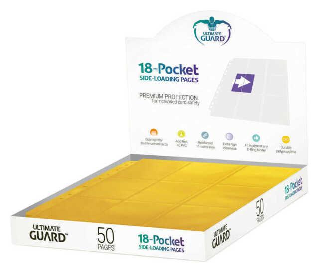 Ultimate Guard 18-Pocket Pages Side-Loading Yellow (50) Raccoglitori amp Fogli