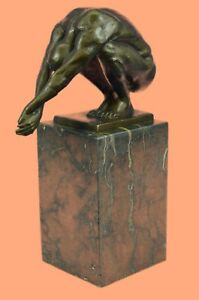 Hot-Cast-Bronze-Nude-Male-Muscular-Diver-Swimmer-Diving-Sculpure-Statue-Figurine