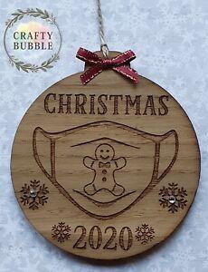 Handmade-christmas-2020-lockdown-bauble-WOODEN-engraved-gingerbread-mask