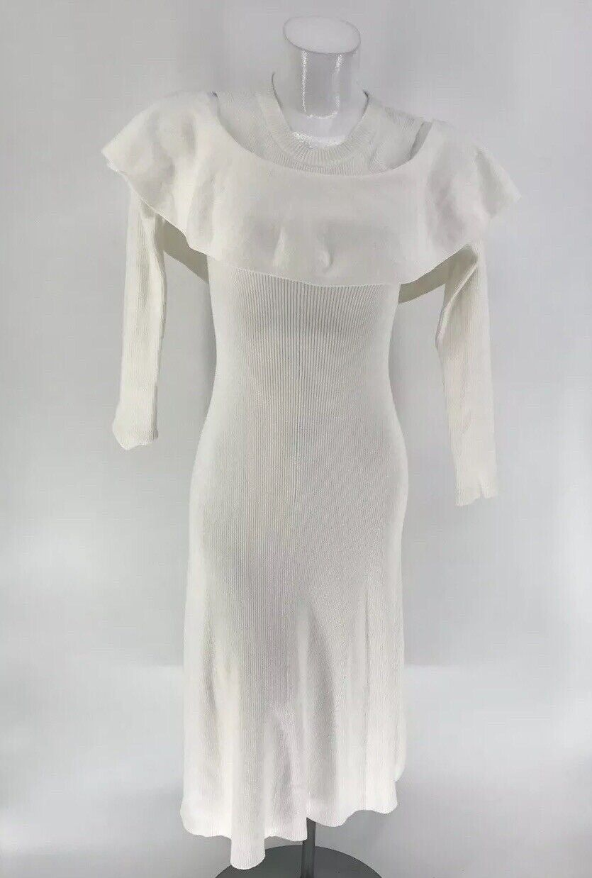 BCBG MAXAZRIA DRESS CAROL Ann Long Sleeve Sweater Weiß MEDIUM