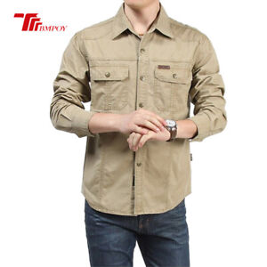 Outdoor-Men-039-s-Army-Tactical-Military-Fashion-Casual-Long-Sleeve-Work-Shirts-Tops
