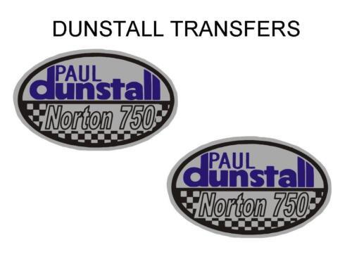Dunstall Norton 750 Tank Transfers Decals Sold as a Pair DDUN8 Blue Silver