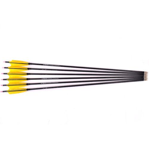 6//10//20PCS 30 Inch Spine 300 Mix Carbon Arrow w Plunger Yellow Orange Feathers