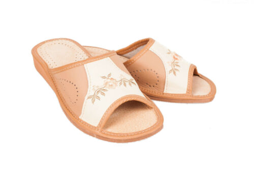 Womens 100/% Eco Leather Slip On Sandals Slippers Ladies Mule Beach Brown /& Cream