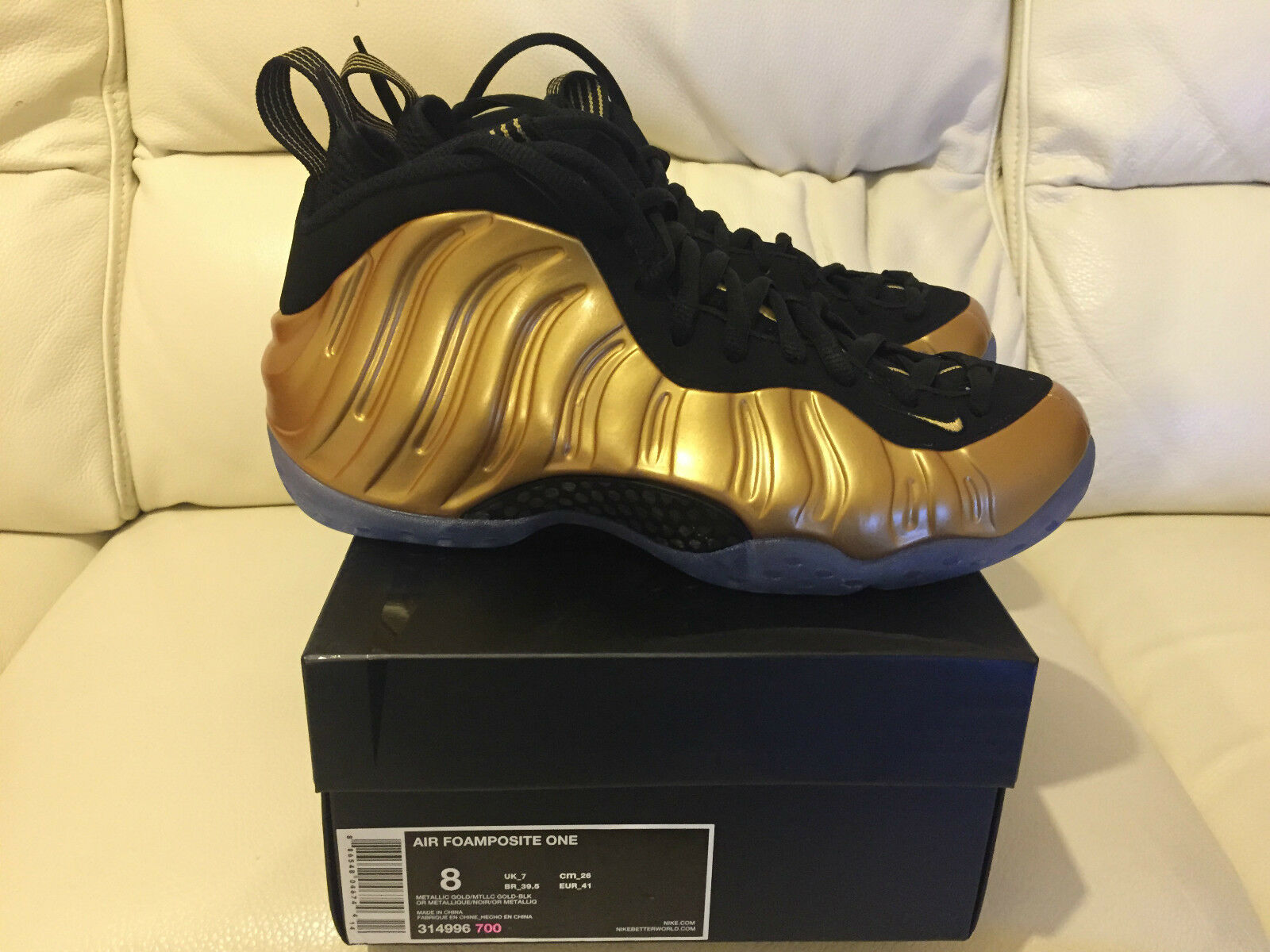 2015 NIKE AIR FOAMPOSITE NEW ONE METALLIC GOLD SIZE NEW FOAMPOSITE *LOOK* e9cd10