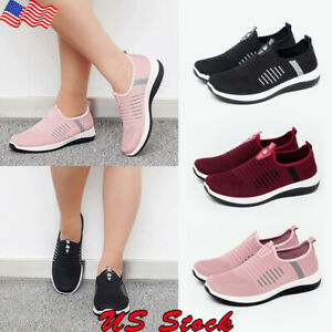 Women-039-s-Athletic-Breathable-Sneakers-Flats-Slip-On-Sports-Casual-Low-Top-Shoes