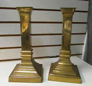 """A Pair of Brass Columns Candle Holders - Large Holders ~ 12"""" Tall"""