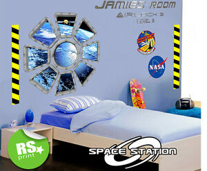 KIDS BEDROOM PERSONALISED SPACE STATION WINDOW WALL