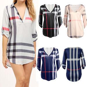 Stylish-Womens-Ladies-Long-Sleeve-Shirt-Plaid-Blouse-Tops-Casual-V-Neck-T-shirt