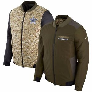 premium selection 1b826 0990f Details about Dallas Cowboys Nike Salute to Service Reversible Bomber  Full-Zip Jacket – Green