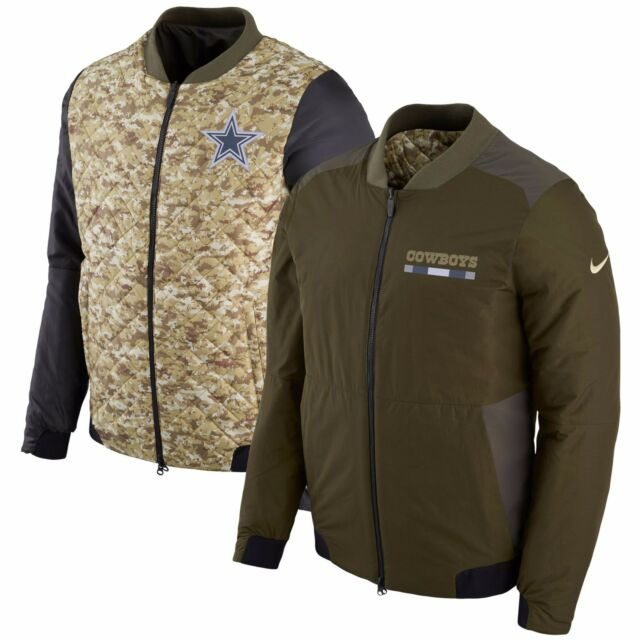 a2244abd4f4 Dallas Cowboys Nike Salute to Service Reversible Bomber Full-Zip Jacket –  Green
