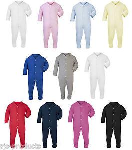 482248353 100% Cotton BABY BOY GIRL Plain Coloured Babygrow Bodysuit Sleepsuit ...