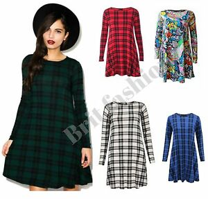 Womens ladies plain LONG SLEEVE TARTAN check SWING DRESS legging ...