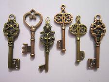 12 x  antiqued bronze copper skeleton keys wedding  pendants charms steampunk..