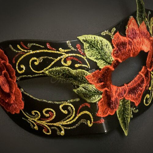 Venetian Macrame Lace Mask for Women Red M39472 Lace Masquerade Mask